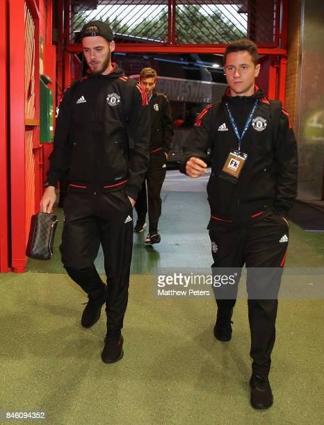 David de Gea and Ander Herrera of Manchester United arrive ahead of the UEFA Champions League group A match between Manchester United and FC Basel at...