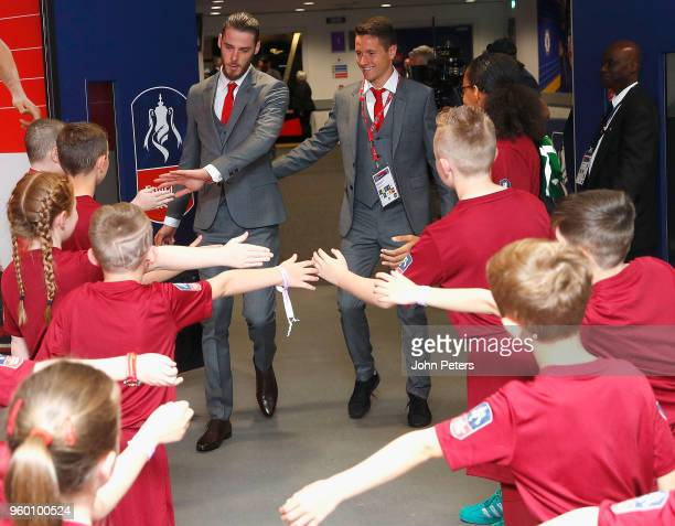David de Gea and Ander Herrera of Manchester United arrive at Wembley ahead of the Emirates FA Cup Final match between Manchester United and Chelsea...