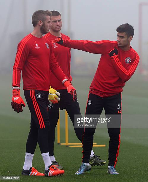 David de Gea and Andreas Pereira of Manchester United in action during a first team training session ahead of their UEFA Champions League match...