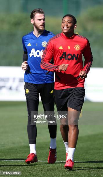 David de Gea and Anthony Martial of Manchester United in action during a first team training session on February 12 2020 in Malaga Spain