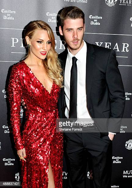 David De Gea and Edurne Garcia attend the Manchester United Player of the Year awards at Old Trafford on May 8 2014 in Manchester England