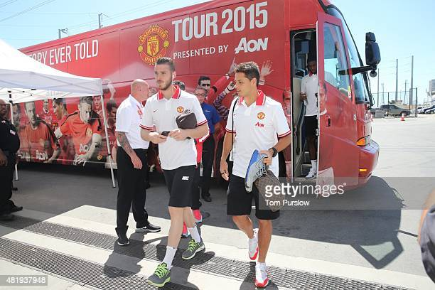 David de Gea and Javier Hernandez of Manchester United arrive ahead of the International Champions Cup 2015 match between Manchester United and...
