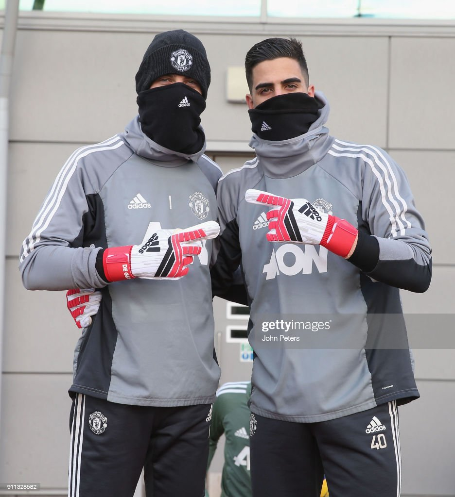 David de Gea and Joel Pereira of Manchester United in action during a first team training session at Aon Training Complex on January 28, 2018 in Manchester, England.