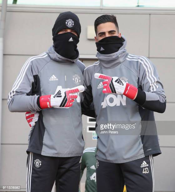 David de Gea and Joel Pereira of Manchester United in action during a first team training session at Aon Training Complex on January 28 2018 in...