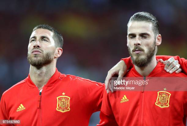 David De Gea and Sergio Ramos of Spain line up for the national anthem prior to the 2018 FIFA World Cup Russia group B match between Portugal and...