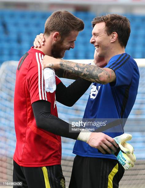 David de Gea and Victor Lindelof of Manchester United in action during a first team training session ahead of their preseason friendly match against...