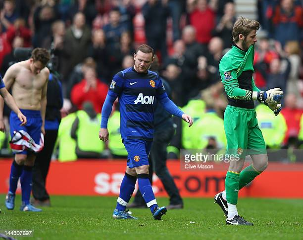 David De Gea and Wayne Rooney of Manchester United leave the field after the Barclays Premier League match between Sunderland and Manchester United...