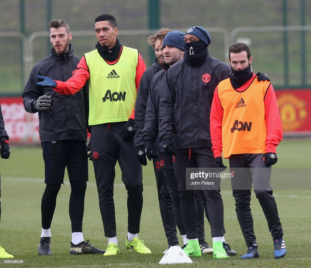 David de Gea, Chris Smalling, Daley Blind, Luke Shaw, Anthony Martial and Juan Mata of Manchester United in action during a first team training session at Aon Training Complex on February 15, 2017 in Manchester, England.