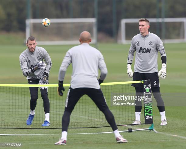 David de Gea Dean Henderson Lee Grant of Manchester United in action during a first team training session at Aon Training Complex on September 28...
