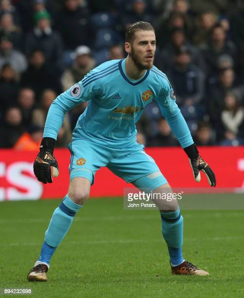 David de Gea in action during the Premier League match between West Bromwich Albion and Manchester United at The Hawthorns on December 17 2017 in...