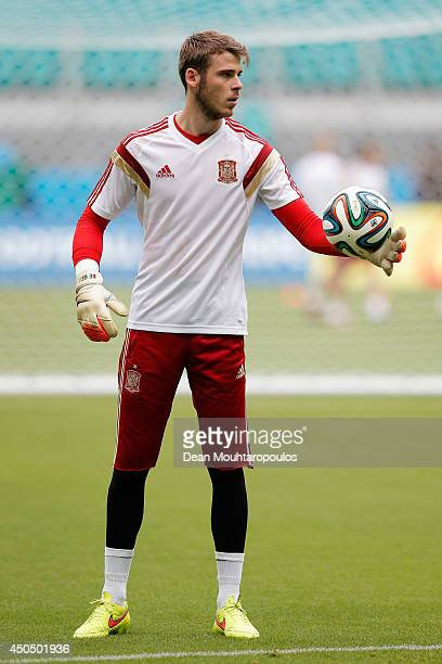 David De Gea in action during the Spain training session ahead of the 2014 FIFA World Cup Group B match between Spain and the Netherlands held at the...