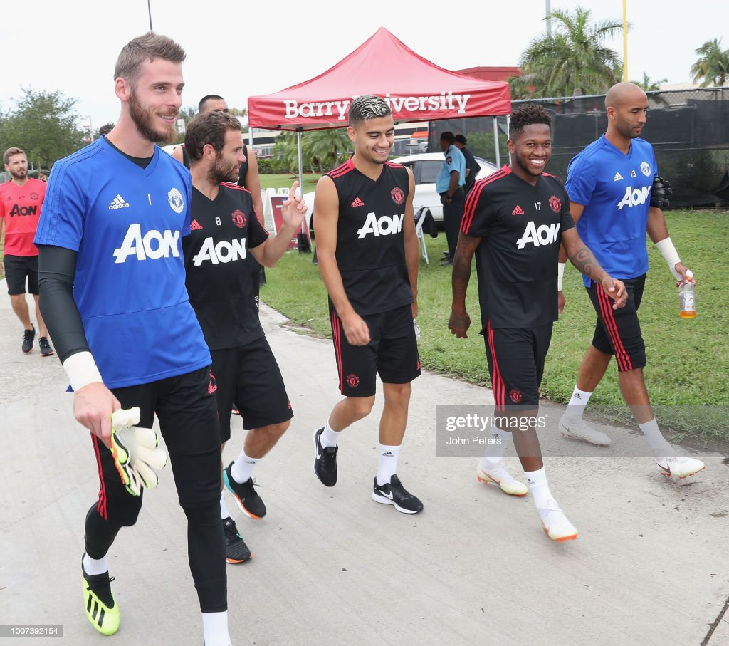 David de Gea, Juan Mata, Andreas Pereira, Fred and Lee Grant of Manchester United in action during a first team training session as part of their pre-season tour of the USA at Barry University on July 29, 2018 in Miami, Florida.