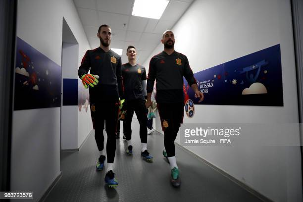 David De Gea Kepa Arrizabalaga and Pepe Reina of Spain walk out for the warm up prior to the 2018 FIFA World Cup Russia group B match between Spain...