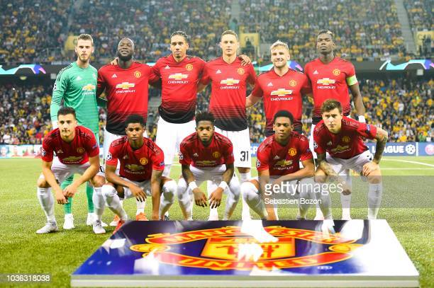 David de Gea of Manchester Romelu Lukaku of Manchester Chris Smalling of Manchester Nemanja Matic of Manchester Luke Shaw of Manchester Paul Pogba of...