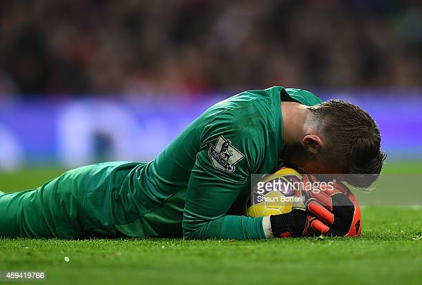 David De Gea of Manchester United after making a save during the Barclays Premier League match between Arsenal and Manchester United at Emirates...