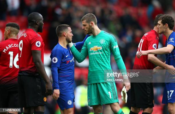 David De Gea of Manchester United and Eden Hazard of Chelsea in discussion after the Premier League match between Manchester United and Chelsea FC at...