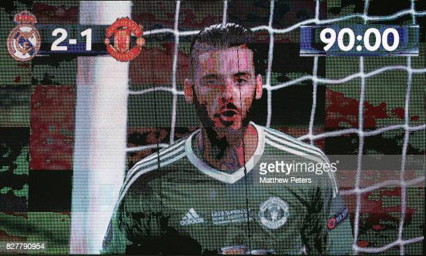 David de Gea of Manchester United appears on the big screen during the UEFA Super Cup match between Real Madrid and Manchester United at Philip II...