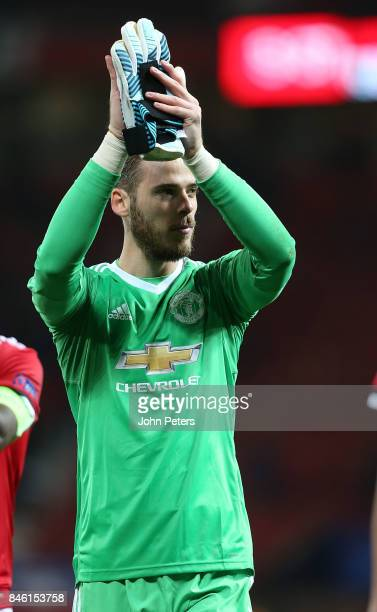 David de Gea of Manchester United applauds the fans after the UEFA Champions League group A match between Manchester United and FC Basel at Old...