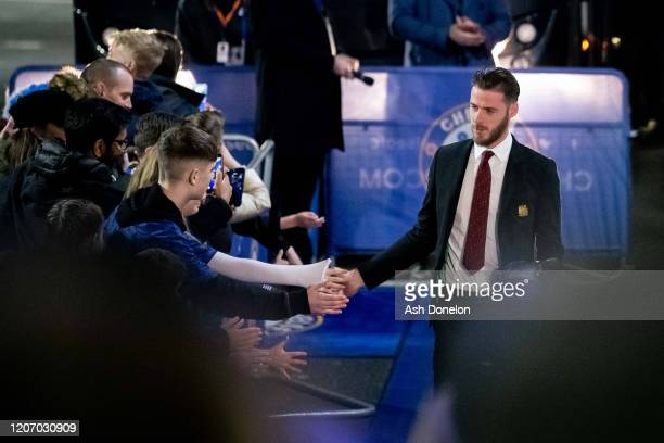 David de Gea of Manchester United arrives ahead of the Premier League match between Chelsea FC and Manchester United at Stamford Bridge on February...