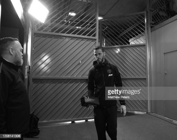 David de Gea of Manchester United arrives ahead of the Premier League match between Manchester United and Watford FC at Old Trafford on February 23...