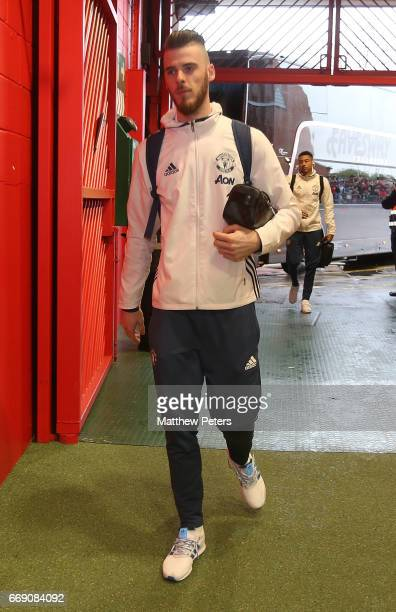 David de Gea of Manchester United arrives ahead of the Premier League match between Manchester United and Chelsea at Old Trafford on April 16 2017 in...