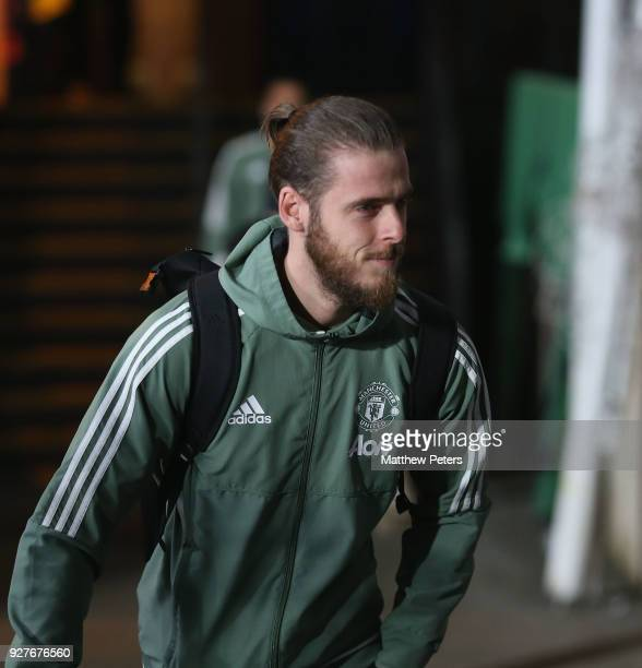 David de Gea of Manchester United arrives ahead of the Premier League match between Crystal Palace and Manchester United at Selhurst Park on March 5...