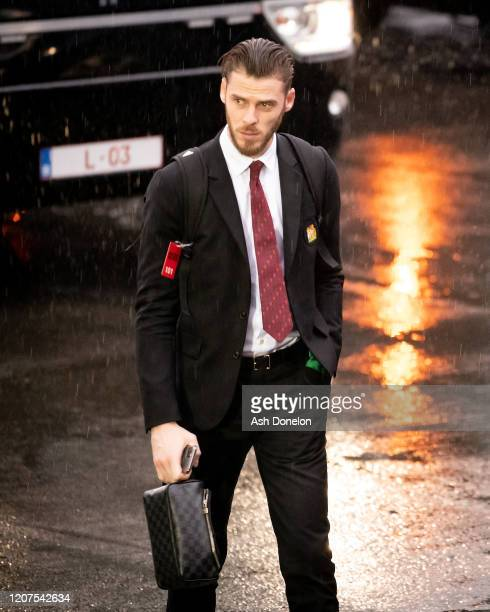 David de Gea of Manchester United arrives ahead of the UEFA Europa League round of 32 first leg match between Club Brugge and Manchester United at...