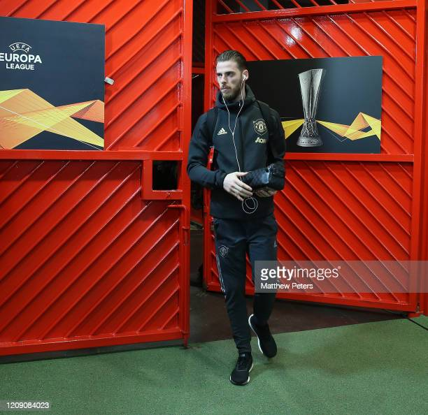 David de Gea of Manchester United arrives ahead of the UEFA Europa League round of 32 second leg match between Manchester United and Club Brugge at...