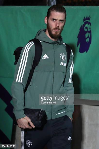 David De Gea of Manchester United arrives for the Premier League match between Crystal Palace and Manchester United at Selhurst Park on March 5 2018...
