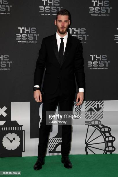 David de Gea of Manchester United arrives on the Green Carpet ahead of The Best FIFA Football Awards at Royal Festival Hall on September 24 2018 in...