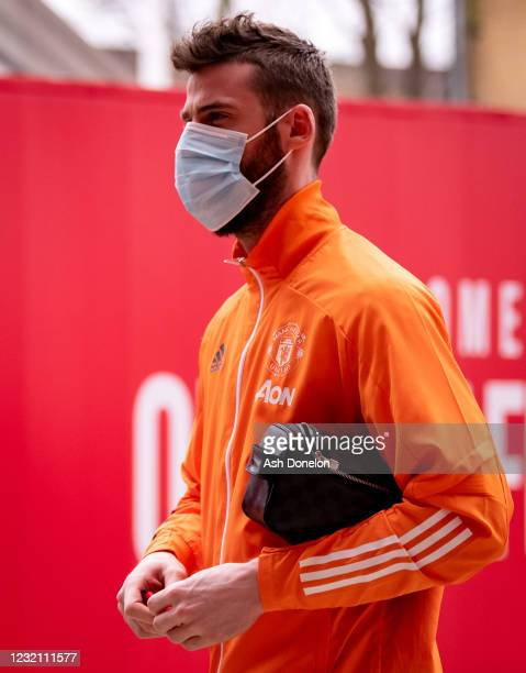 David de Gea of Manchester United arrives prior to the Premier League match between Manchester United and Brighton & Hove Albion at Old Trafford on...