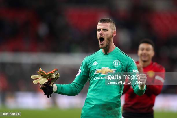 David de Gea of Manchester United at full time of the Premier League match between Tottenham Hotspur and Manchester United at Wembley Stadium on...