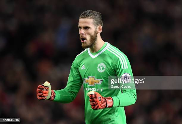 David De Gea of Manchester United celebrates after Anthony Martial scoring their sides first goal during the Premier League match between Manchester...