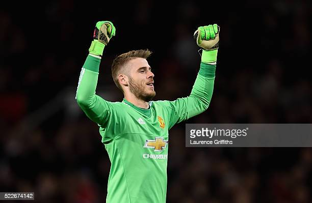 David De Gea of Manchester United celebrates after his side scored their second goal during the Barclays Premier League match between Manchester...