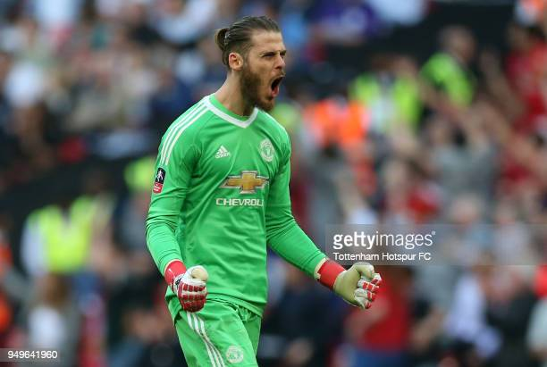 David De Gea of Manchester United celebrates after his sides second goal during The Emirates FA Cup Semi Final match between Manchester United and...