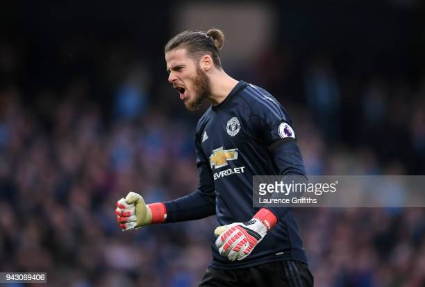 David De Gea of Manchester United celebrates after his sides third goal during the Premier League match between Manchester City and Manchester United...
