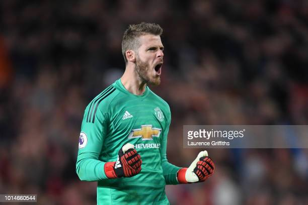 David De Gea of Manchester United celebrates after Luke Shaw of Manchester United scored their second goal during the Premier League match between...