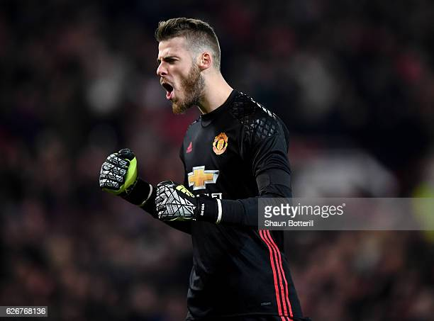 David De Gea of Manchester United celebrates after teammate Zlatan Ibrahimovic of Manchester United scores the opening goal during the EFL Cup...