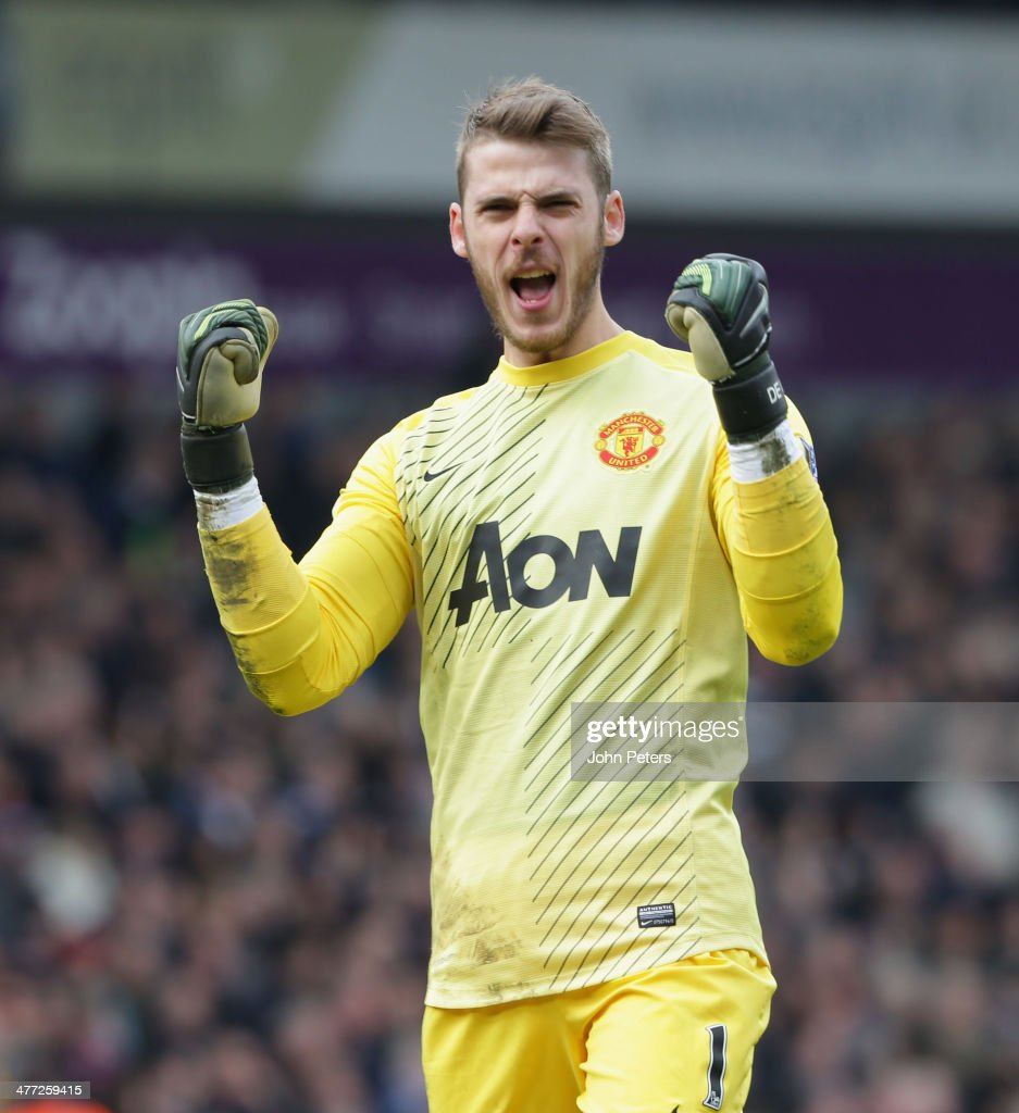 David de Gea of Manchester United celebrates after the Barclays Premier League match between West Bromwich Albion and Manchester United at The Hawthorns on March 8, 2014 in West Bromwich, England.