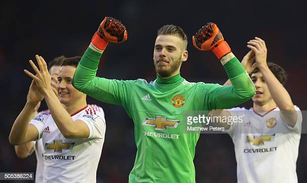 David de Gea of Manchester United celebrates after the Barclays Premier League match between Liverpool and Manchester United at Anfield on January 17...