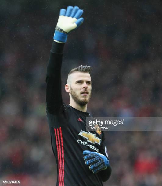 David de Gea of Manchester United celebrates after the Premier League match between Manchester United and Chelsea at Old Trafford on April 16 2017 in...