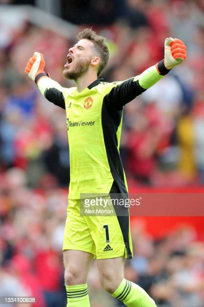 David de Gea of Manchester United celebrates after their side's fifth goal scored by Fred during the Premier League match between Manchester United...