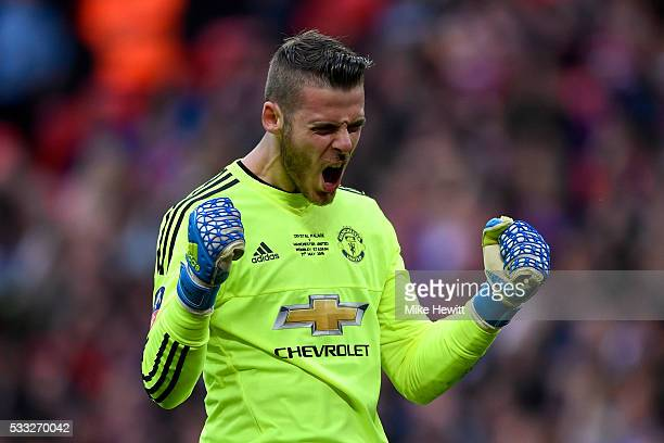 David De Gea of Manchester United celebrates as Jesse Lingard of Manchester United scores their second goal during The Emirates FA Cup Final match...
