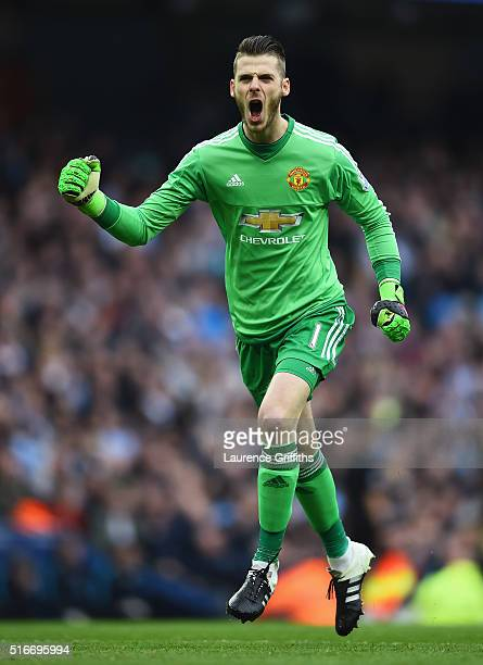 David De Gea of Manchester United celebrates as Marcus Rashford of Manchester United scores their first goal during the Barclays Premier League match...