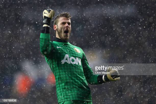 David De Gea of Manchester United celebrates as Robin van Persie of Manchester United scores the opening goal during the Barclays Premier League...