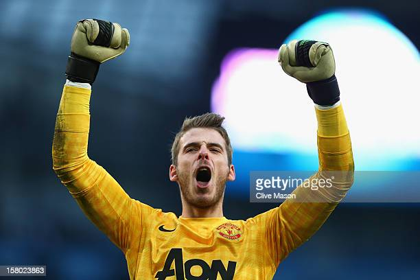 David De Gea of Manchester United celebrates at the end of the Barclays Premier League match between Manchester City and Manchester United at the...