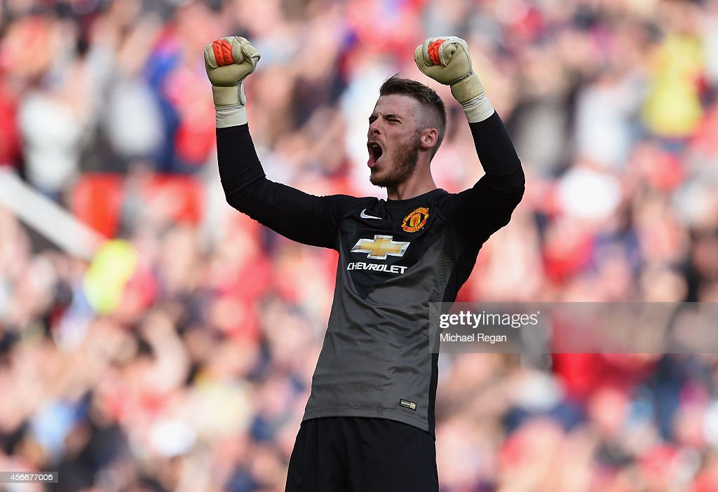 David De Gea of Manchester United celebrates at the end of the Barclays Premier League match between Manchester United and Everton at Old Trafford on October 5, 2014 in Manchester, England.