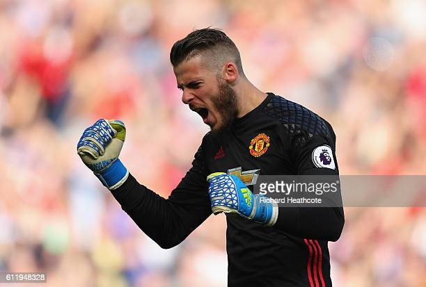 David De Gea of Manchester United celebrates David De Gea of Manchester United scoring their sides first goal during the Premier League match between...