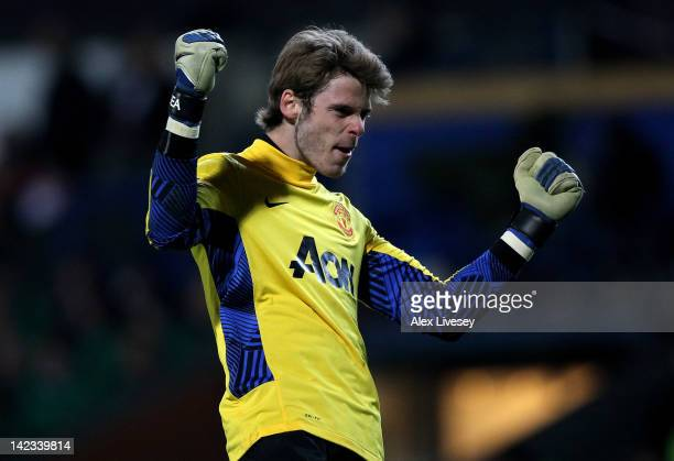 David de Gea of Manchester United celebrates during the Barclays Premier League match between Blackburn Rovers and Manchester United at Ewood Park on...