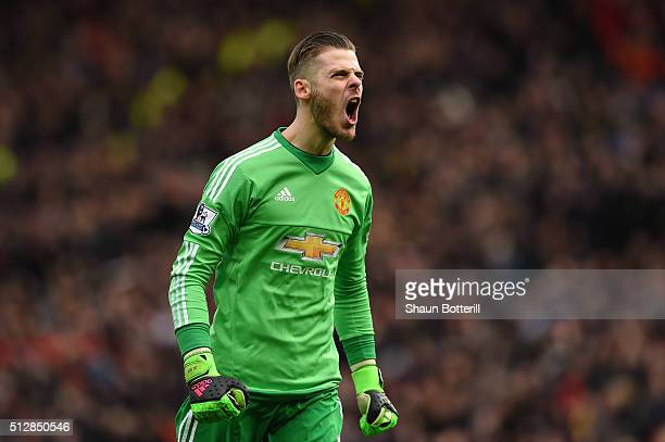 David De Gea of Manchester United celebrates during the Barclays Premier League match between Manchester United and Arsenal at Old Trafford on...